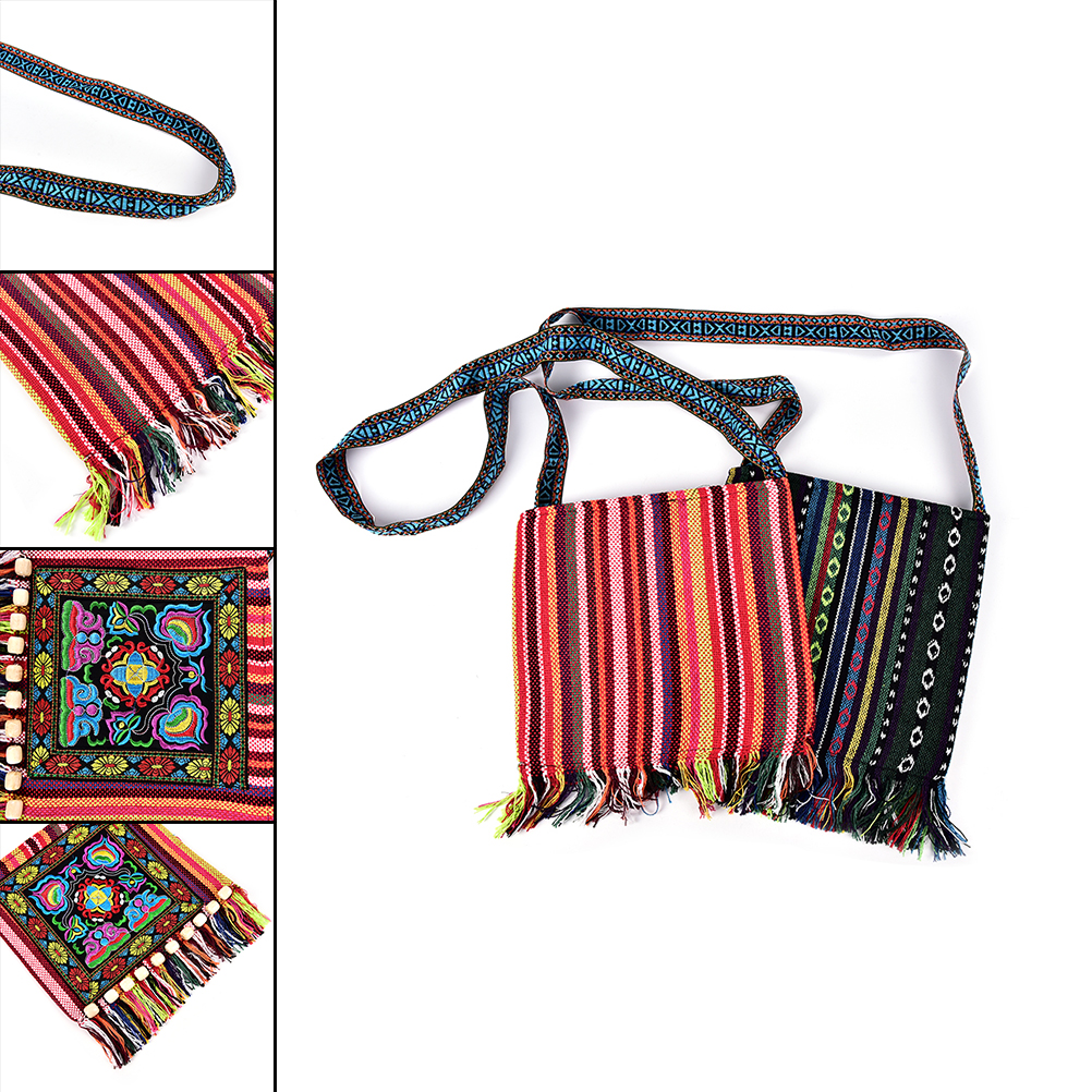 1PCS Women Hmong Thai Embroidered Handbag Boho Hippie Handbag  Zipper Messenger Tassels Bag 4Colors