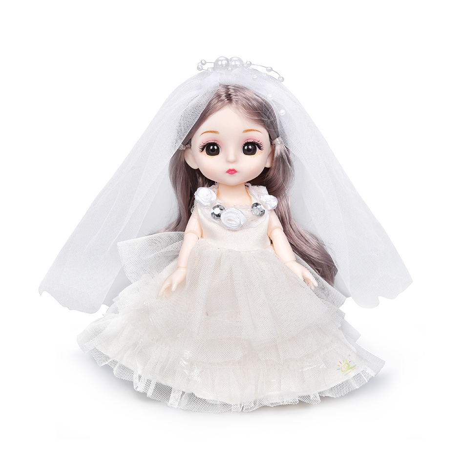 6pcs 5.9inch 13 Moveable Fashion bjd Boneca Dolls Joint body Ball Jointed Reborn Wedding Dress Make Up Dolls Toys Gift For Girls 9