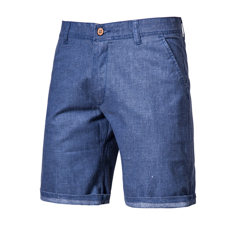 2020 New Summer 100% Cotton Linen Shorts Men Quality Knee Length Casual Mens Shorts Breathable Cool Feel Short Men