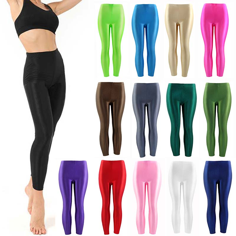 HOT 2019 Women Solid Color Fluorescent Shiny Pant Leggings Large Size Spandex Shinny Elasticity Casual Trousers For Girl Pants