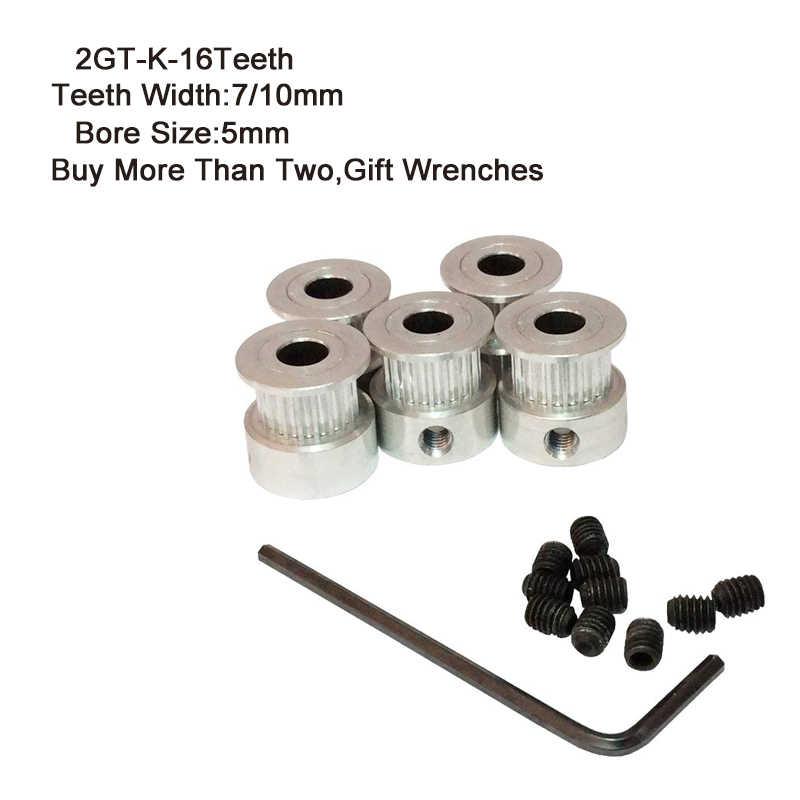 2GT-K עיתוי גלגלת 16 שיניים 5mm נשא 7mm 10mm שיניים רוחב GT2 סינכרוני גלגל Fit GT2 חגורה רוחב 7 & 10mm 3D מדפסת חלקי