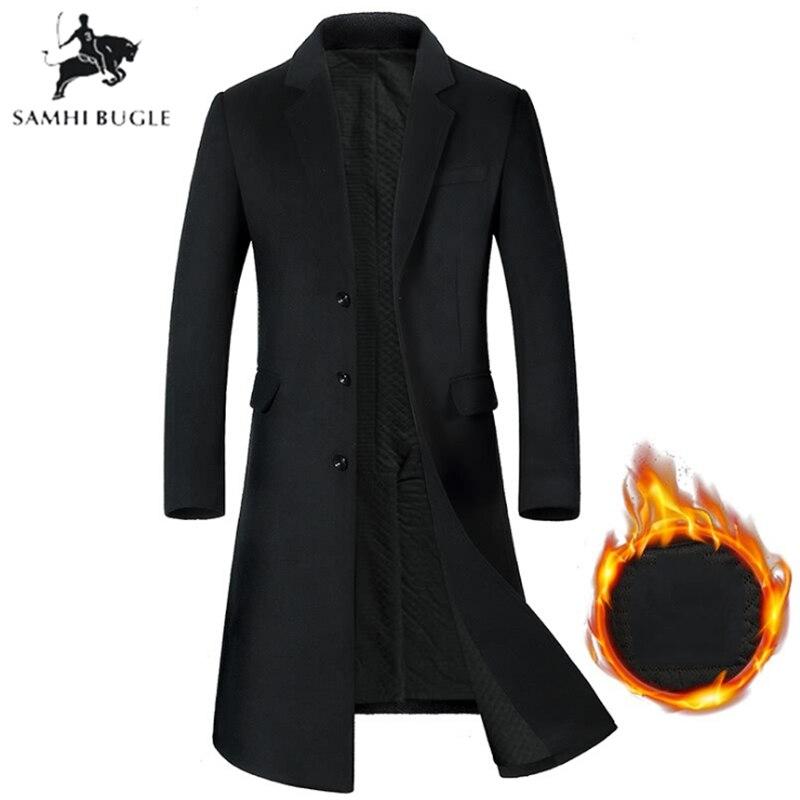Men Long wool coat Thicken Men's trench coat Men's cashmere coat High-quality Woolen Overcoat Long Parka Men's Coat