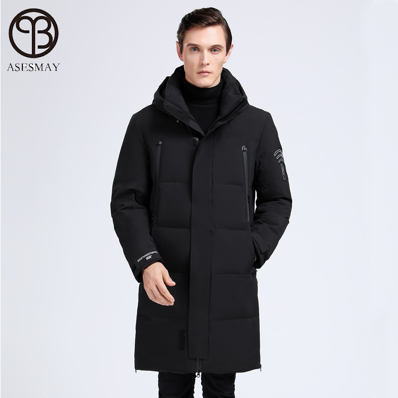 2019 brand clothing men winter coat white duck down jacket warm long casual parkas polyester windbreaker tracksuits outerwear - 3
