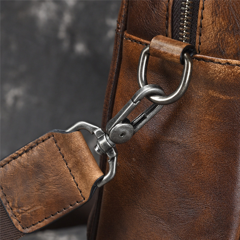PNDME модный винтажный большой емкости деловой мужской портфель из натуральной кожи Повседневная простая воловья сумка для ноутбука сумки - 5