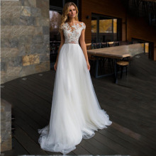 Tulle A Line O Neck Cap Sleeve Wedding Dress Lace Appliques Button Back Court Train Bridal Dress