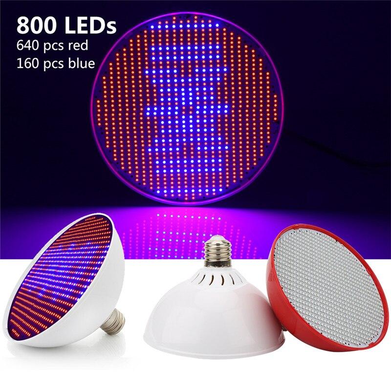 E40 E27 80W LED Grow Light Full Spectrum Hydroponics Lighting AC85-265V RED BLUE Lights 800 LEDs Phyto Lamp For Plant Indoor Veg
