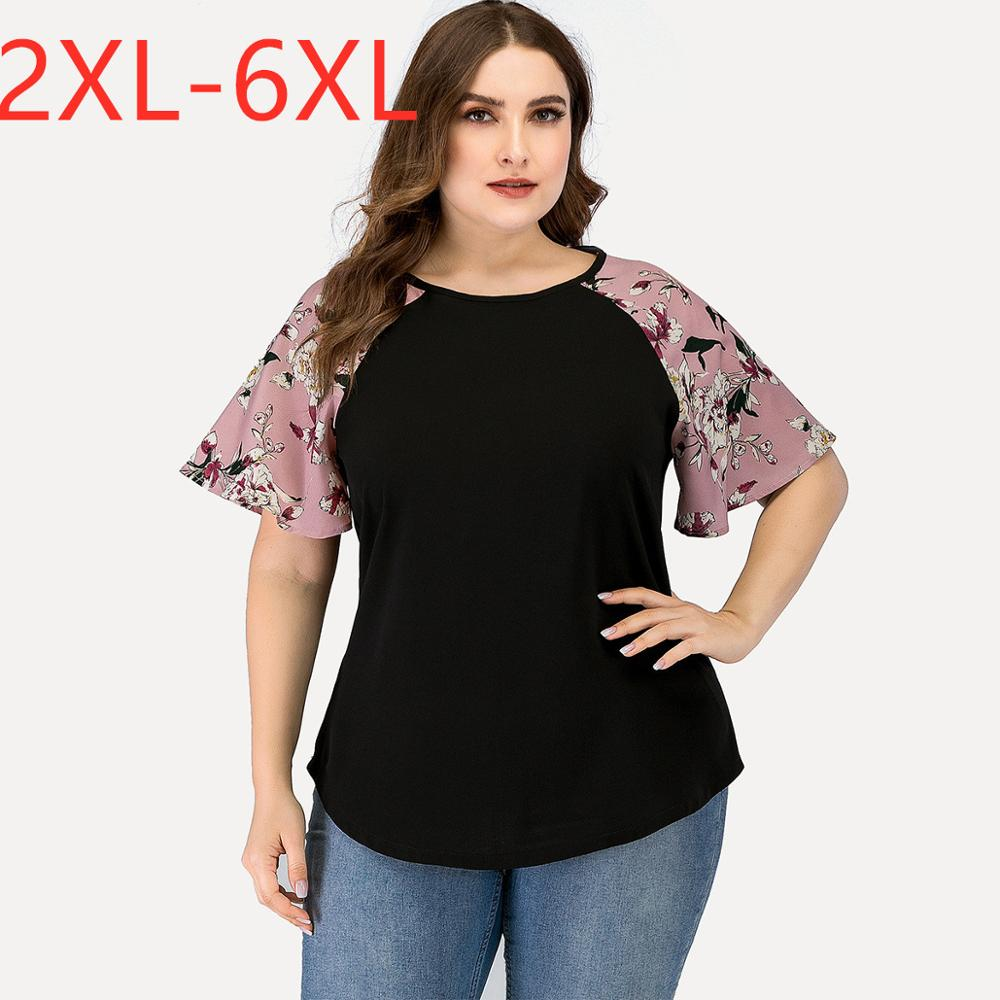New 2020 summer plus size tops for women large blouse short sleeve loose casual floral print pink black shirt 3XL 4XL 5XL 6XL