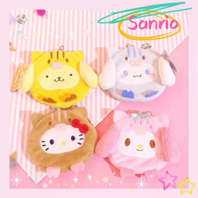 Sanrio Hello Kitty My Melody Cinnamoroll Pom PomPurin Plush Coin Purse Bags Cute Wallet Card Bag Key Chain Bag For Girl Gifts