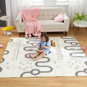 Image 2 - سجادة لعب للأطفال الرضع لامعة XPE سجادة زحف لحماية البيئة سميكة قابلة للطي سجادة أرضية منزلية للأطفال