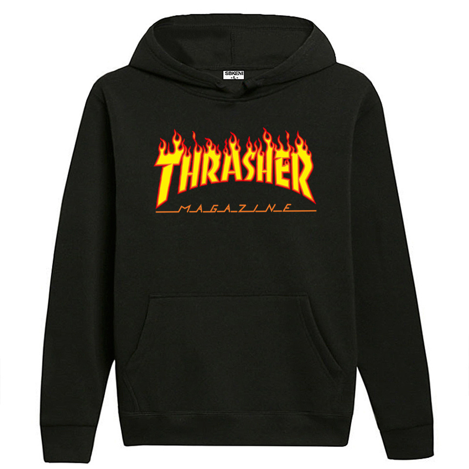 Autumn And Winter Europe And America Thrasher Flame Hoodie Fashion Loose Casual Sweatshirt Couples Hoodie