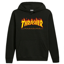 Autumn And Winter Europe And America Thrasher Flame Hoodie Fashion Loose Casual
