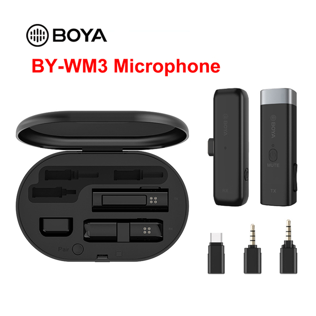 BOYA BY WM3 Wireless Microphone System Mini Lapel Mic Condenser Interview Clip on Mic for DSLR Camera Type C IOS Phone Recording