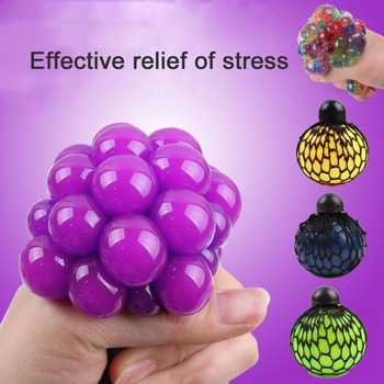 Anti Stress Soft Squishy Face Reliever Grape Tricks Ball Natural Rubber Squeeze Stresses Reliever Healthy Toy for Kid Joke Gift banana style pp rubber stress reliever keychain yellow