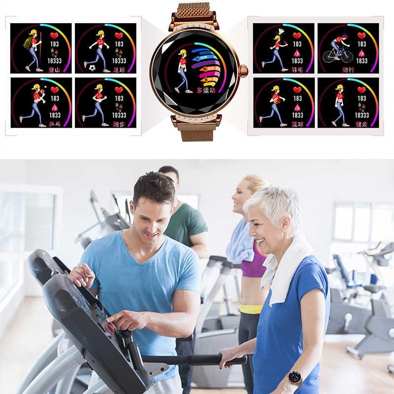 Reloj inteligente LEMFO H2 para mujer IP67, a prueba de agua, Monitor de presión arterial, reloj inteligente para mujer