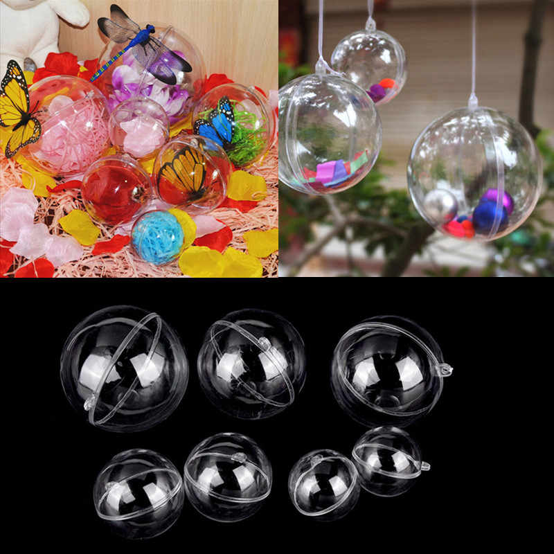 1pc decorações de natal tress bola transparente aberto plástico claro ornamento presente caixa decoração