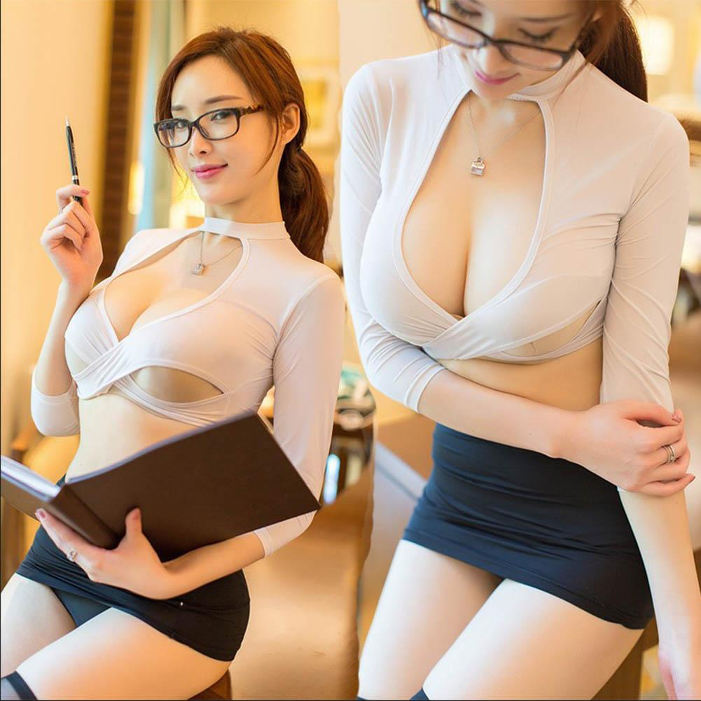 Sexy Secretary Uniform Top Skirt Thongs Women Role Play Costume Set Mini Skirt Temptation Skinny Pencil эротические костюмы