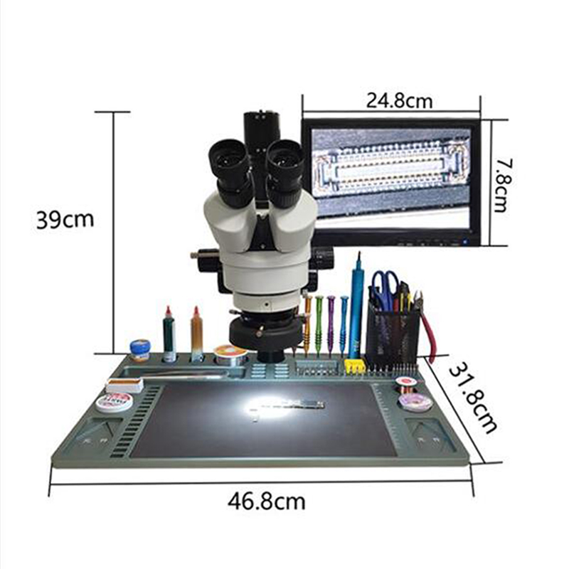 TBK Trinocular Electron Microscope Welding Disassemble Workbench Motherboard Circuit Board Inspection Jewelry Magnifying Glass
