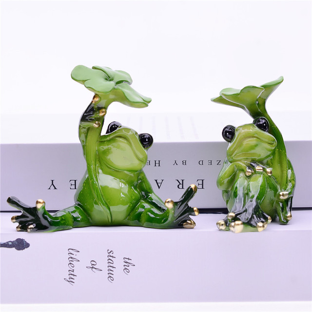 MYBLUE 2Pcs/Set Kawaii Animal  Resin Frog Fairy Garden Figurines Miniature Landscape Nordic Home Table Decoration Accessories 3