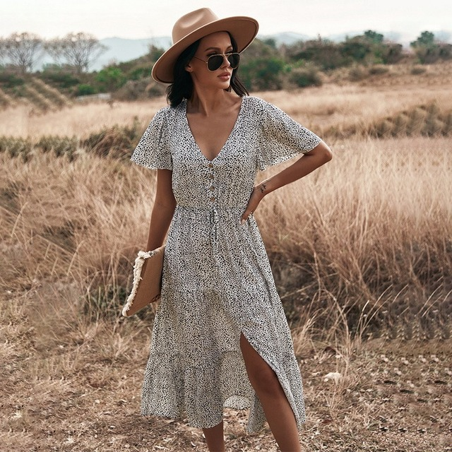 Floral Print Maxi Dress Women Boho Elegant V Neck Long Shirt Dress Summer Short Sleeve Long Dress Ladies 2021 Beach Sundress 3