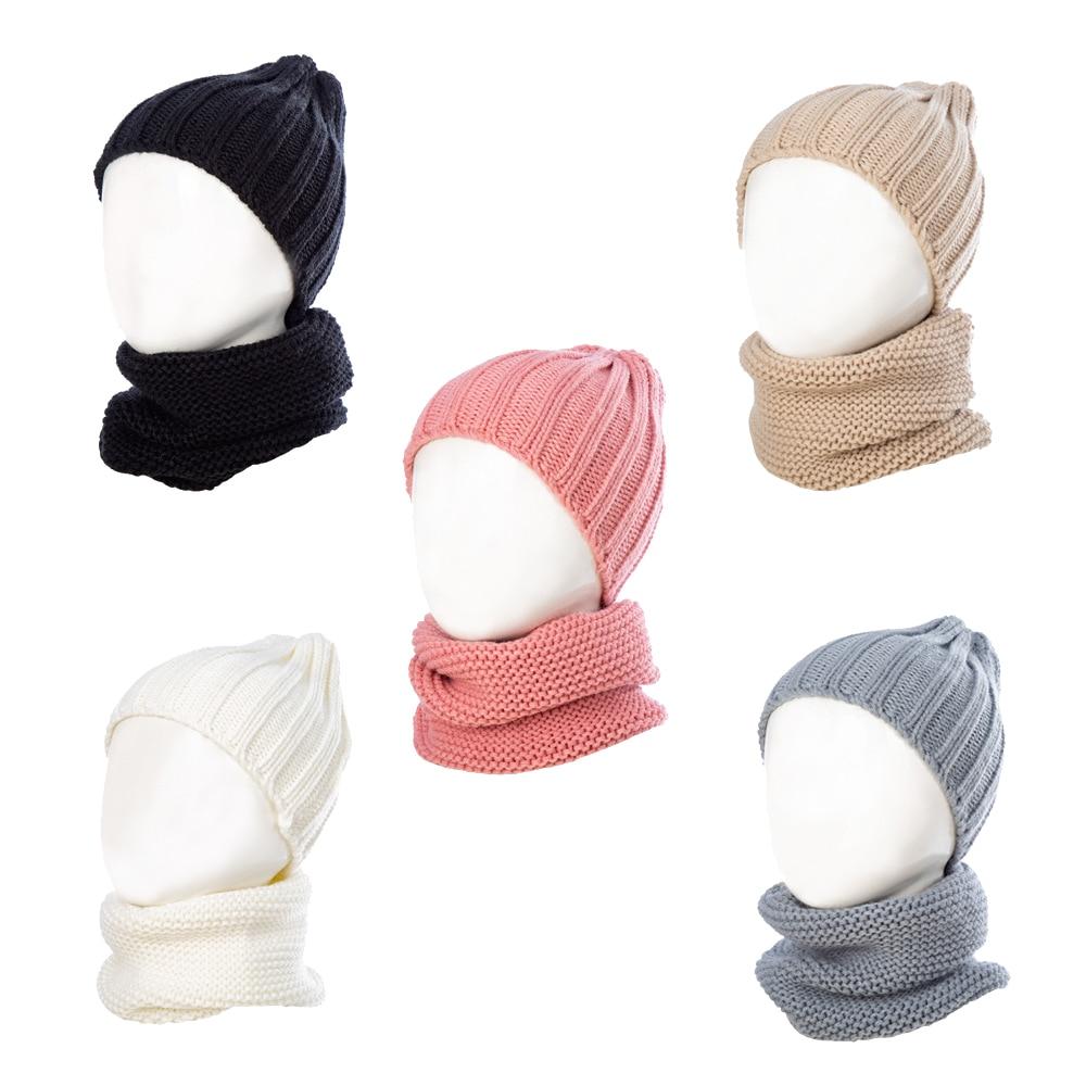 1SETInfantHat And Neckerchief Kids Winter Protection Knitting Wool Warm Cap Scarf Children Birthday Festival Gift Present