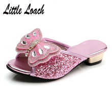 Kids Princess Sequin Dress Shoes Bowknot Bling Bling Low Heel Slippers Casual Gi
