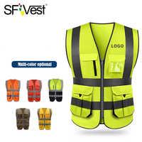 Sfgilet haute visibilité gilet de sécurité réfléchissant vêtements de sécurité travail gilet réfléchissant multi poches vêtements de travail gilet de sécurité hommes