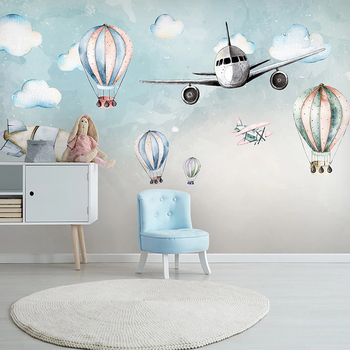 Custom 3D Photo Wallpaper Cartoon Airplane Hot Air Balloon Children Room Bedroom Bedside Wall Mural Non-woven Papel De Parede