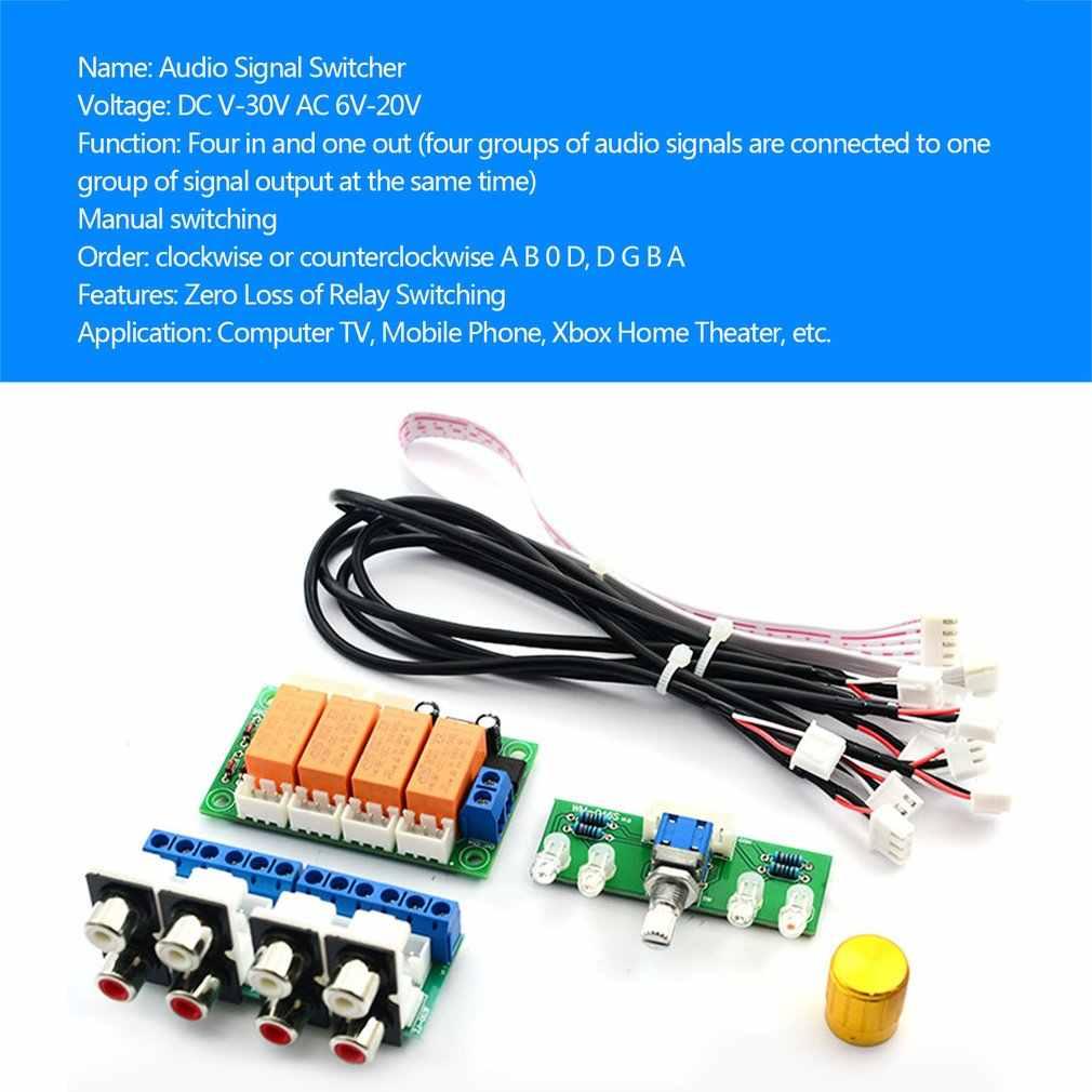 4-Way przekaźnik sygnału wejściowego Audio przełącznik RCA wybór wejścia Audio pokładzie przycisk przełącznika dla wzmacniaczy nie zmontowane