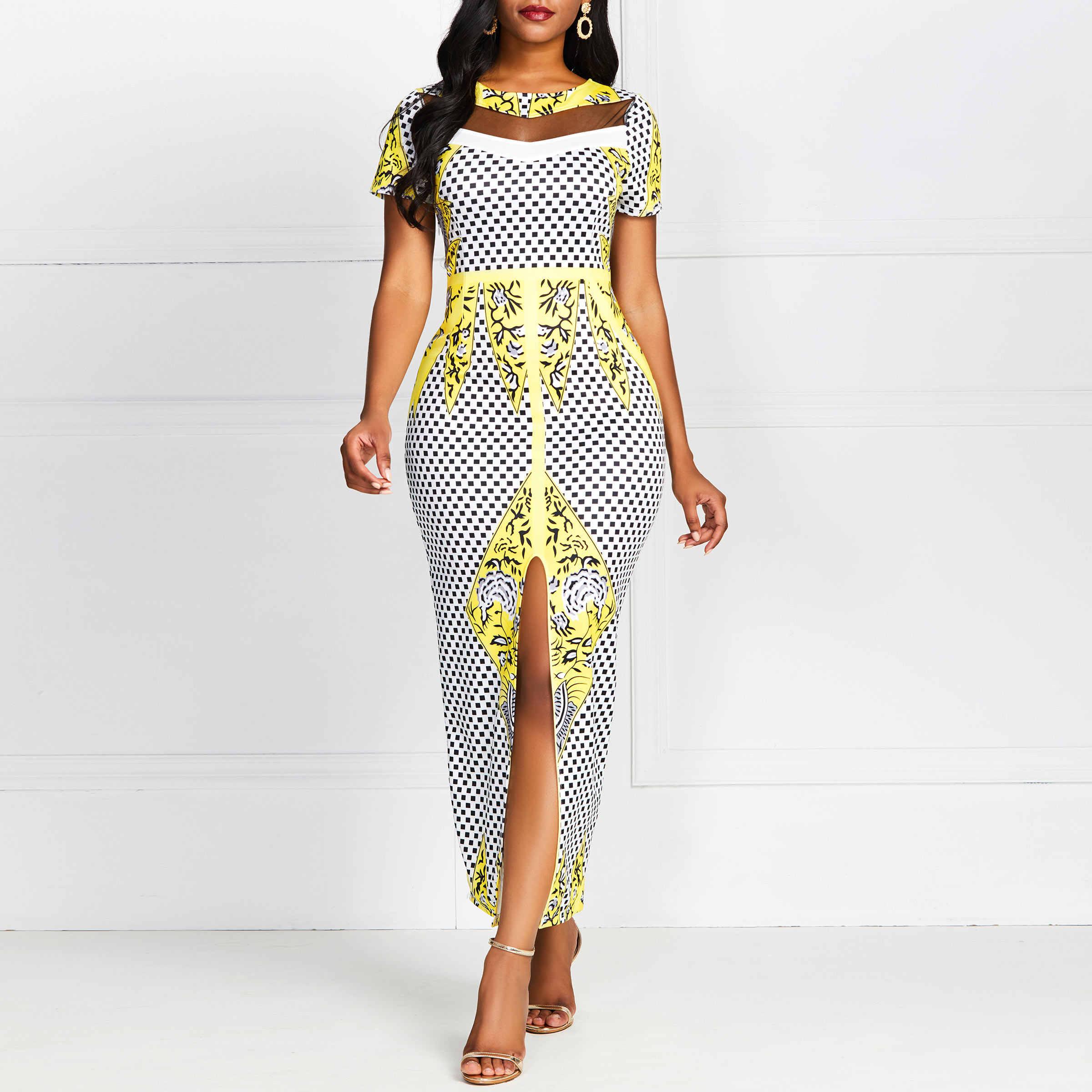 Женское летнее длинное платье в обтяжку Сетчатое прозрачное вечерние Роскошные желтые цветочные клетчатые элегантные длинные платья с разрезом женские