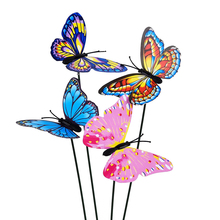 50pcs/set 3D Artificial Butterfly Garden Decorations Simulation Stakes Yard Plant Lawn Decor Fake Butterefly Random