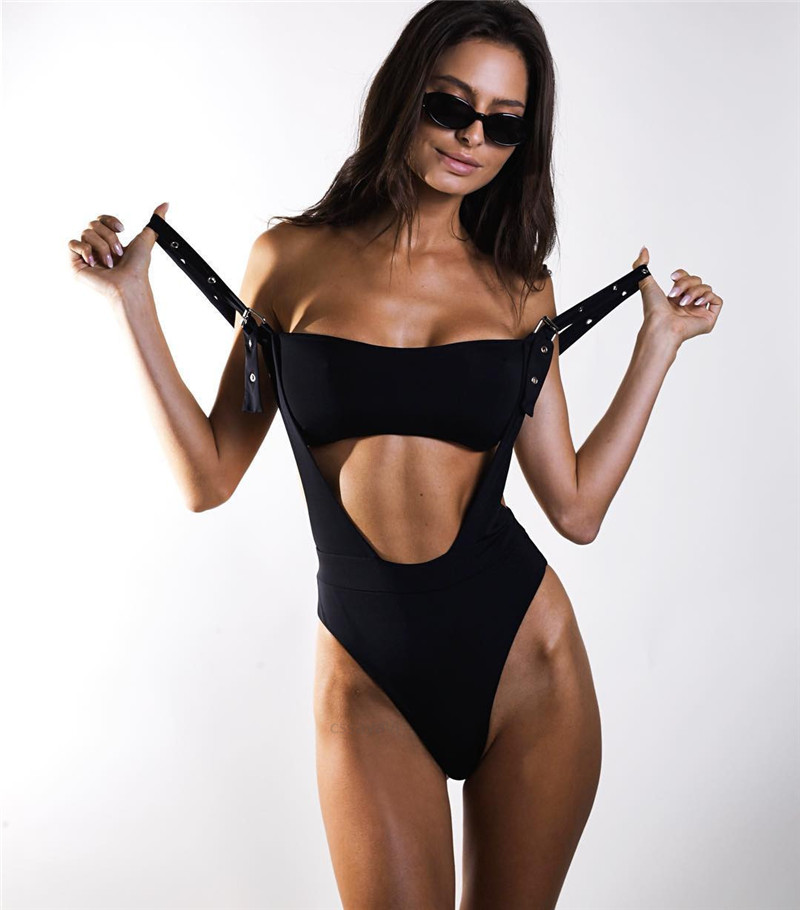 Bandeau two pieces bikini Buckle black high cut swimsuit one piece Sexy bikini 2019 swimwear women high waist bathing suit-5