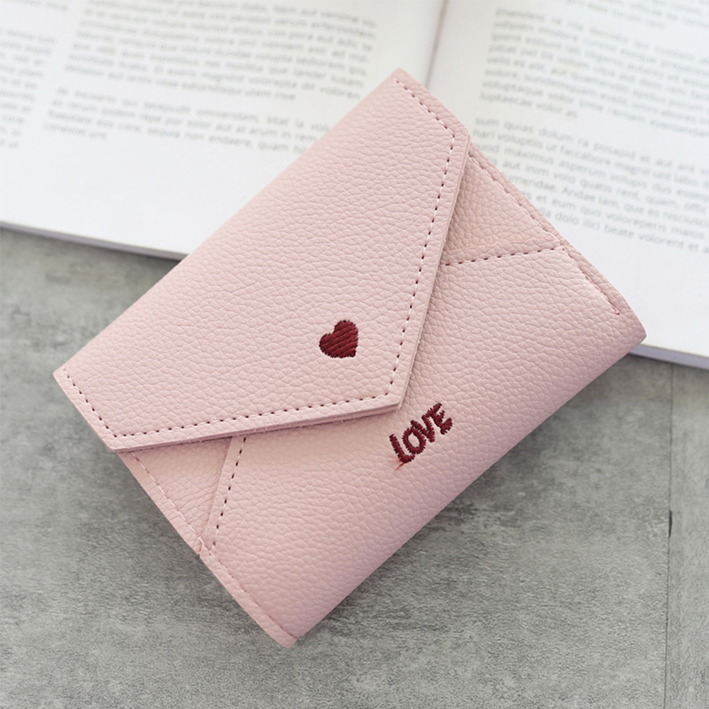 Three Fold Embroidery Portable Women Wallet Mini Fashion Small PU Leather Heart Pattern Purse Card Slots Coin Pocket