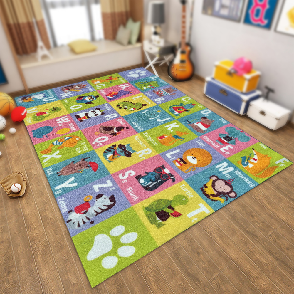 Area Rug Preschool Toys Non Slip Educational Carpet Room Cartoon Pattern Waterproof Home Decoration Baby Play Mat Cognition