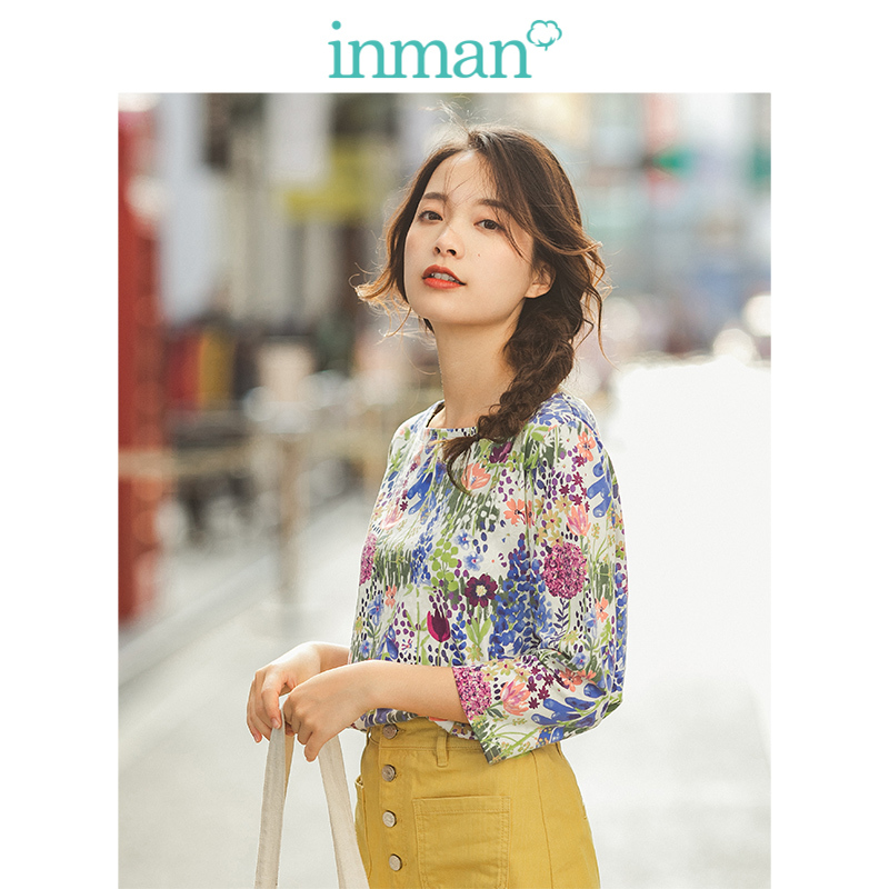INMAN 2020 Spring New Arrival Literary 100%Cotton O-neck Loose Basic Floral Half Sleeve Women T-shirt