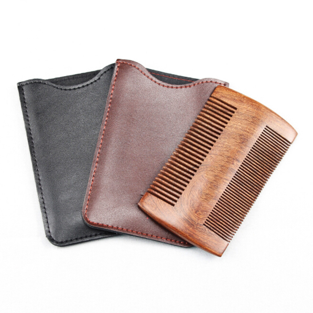 New Natural Sandalwood Wooden Comb Anti-Static Beard Comb Brush Mustaches Brush Pocket Wood Comb Hair With Case