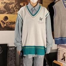 Men Sweater Knitted Preppy-Style Clothing Vest Korean Sleeveless Retro Chic Male Streetwear