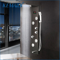 KEMAIDI 12 Choice Black Shower Column Faucet Bath Faucet Temperature Digital Display LED Shower Panel Body Massage System Jets