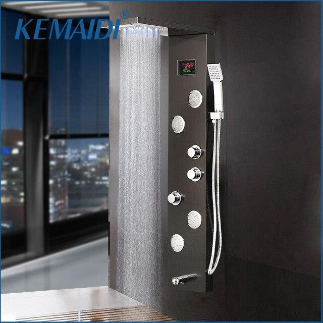 KEMAIDI 12 choix noir colonne de douche robinet robinet de bain température affichage numérique LED panneau de douche corps Massage système Jets