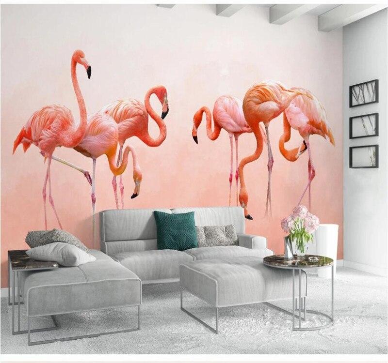 Professional Custom Wallpaper Modern Minimalist Hand Painted Flamingo Personality Wallpaper Nordic Background Wall