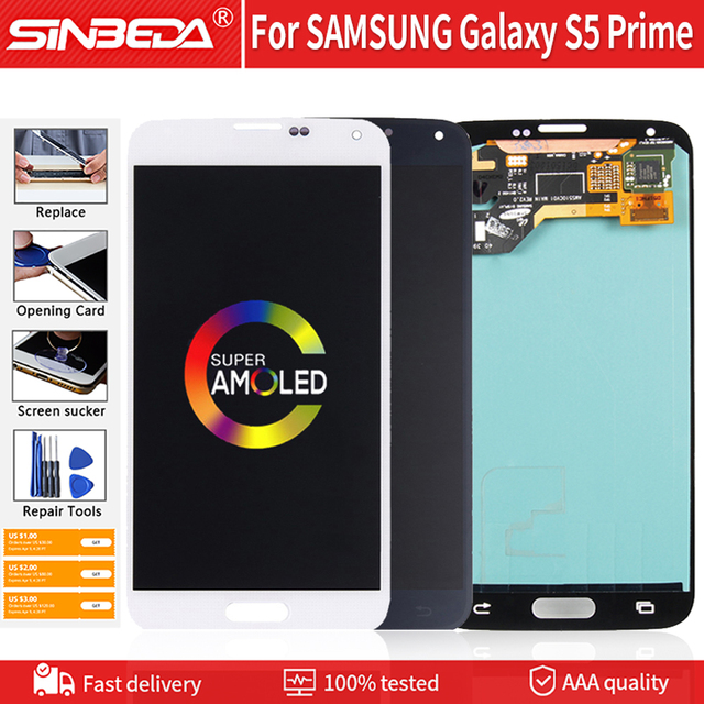 """5.1"""" Super AMOLED For SAMSUNG Galaxy S5 Prime G906S G906L G906K LCD Display Touch Screen Digitizer For Samsung S5 Prime LCD G906"""