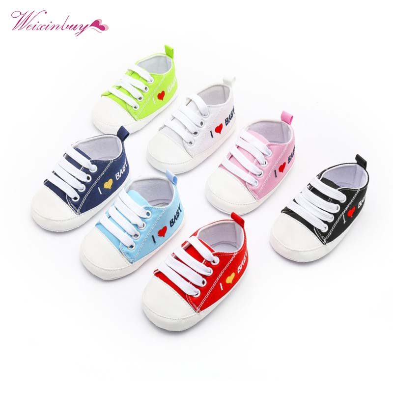 New Canvas Classic Sports Sneakers Newborn Baby Boys Girls First Walkers I Love Baby Infant Soft Sole Anti-slip Baby Shoes