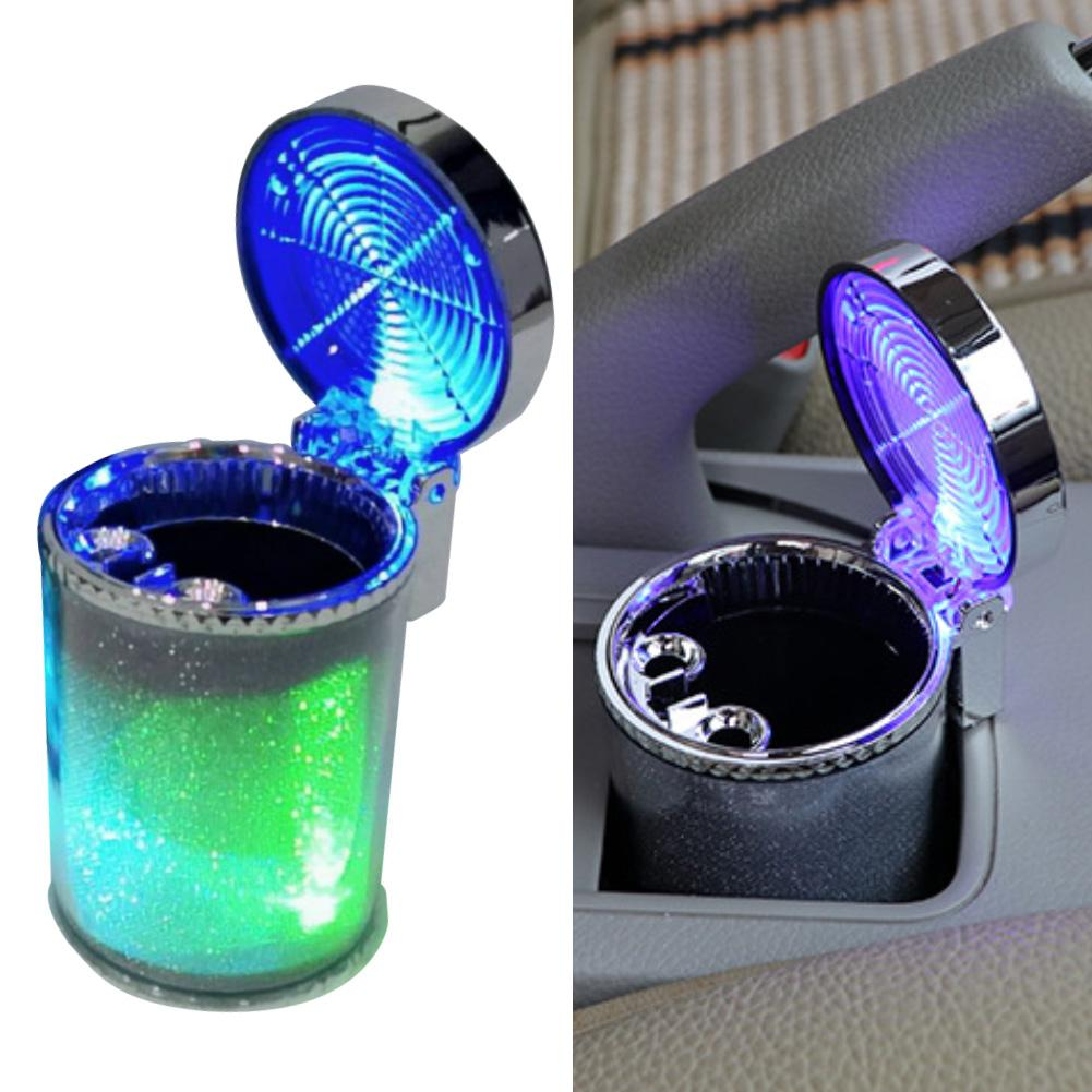 Car Blue LED Light Indicator Cigarettes Ashtray Garbage Coin Storage Cup Container Cigar Ash Tray Smokeless Cylinder Bin Holder