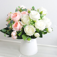 Hohe Qualität Künstliche Blumen Pfingstrose Weiß Rosa Rose Bouquet Hause Hochzeit Dekoration Gefälschte Blumen Handwerk Wohnzimmer Anordnung