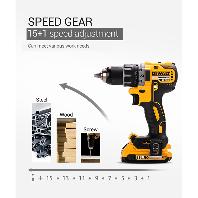 DEWALT Original 18V Lithium Battery DIY Power Driver Variable Speed Electric Screwdriver Impact Cordless Drill with LED Light 5