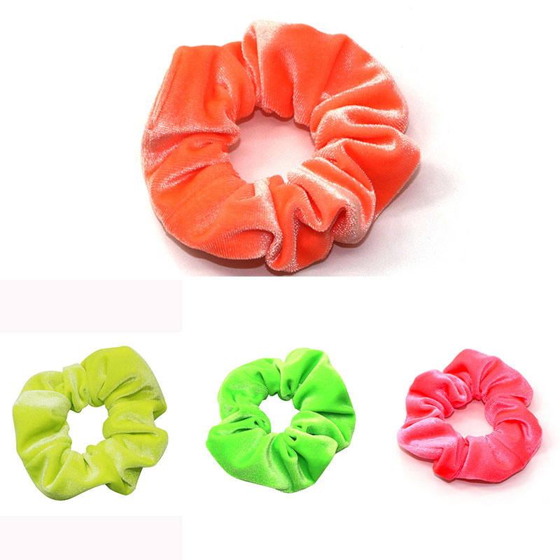Hot Fluorescent Color Velvet Scrunchies Hair Ring Elastic Elastic Hair Bands Rubber Ponytail Hair Tie Red Green Blue Yellow Head image