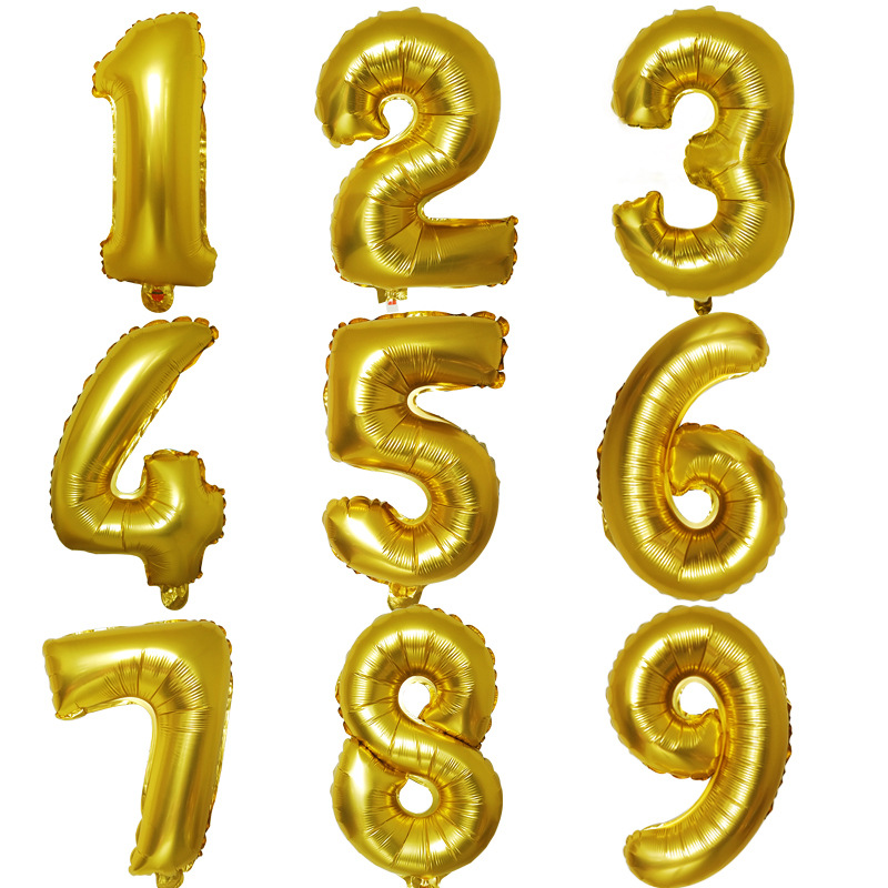 With Numbers Balloon 40 Inch Gold Silver Fat Version With Numbers Balloon Cross Border For Decorative 40-Inch Fat Version Alumin