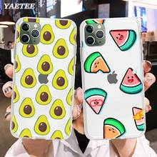 Cute Avocado Food Phone Case for iPhone 11 Pro X XR XS MAX SE 2020 11 7 8 Plus 6 6s 5 5s 7+ 8+ TPU Soft Cover 3d cigarette phone case for iphone 7 creativity soft silicon tpu cover for apple iphone 6s 6 x 8 plus 5 se 5s case 7 plus 6 plus