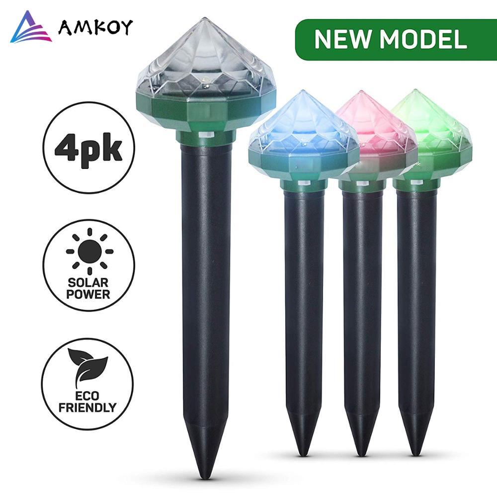 AMKOY 4/8 Pack Mole Repellent Solar Powered Ultrasonic Sonic Mouse Pest Rodent Repeller Yard LED Light Outdoor Lamp Yard Garden