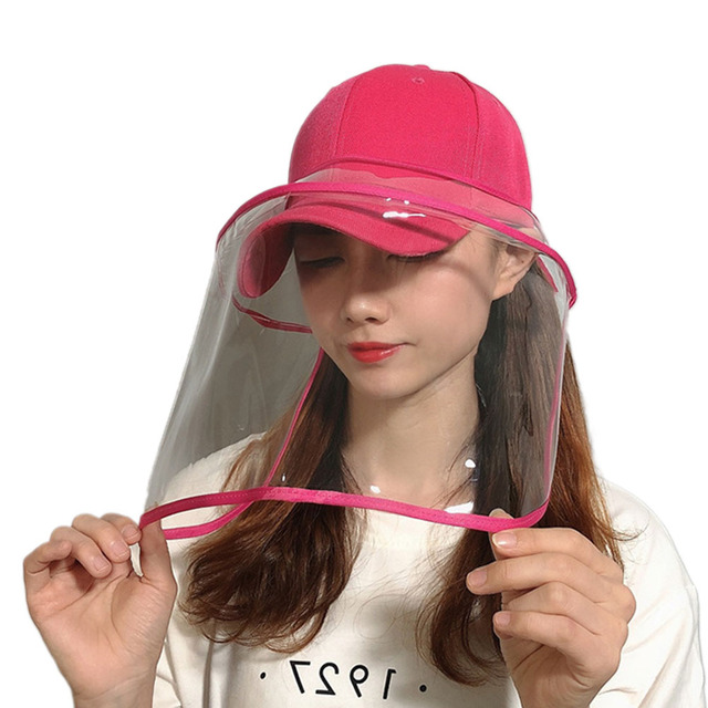 2020 Newest Collapsible Removable Protective Anti-saliva Dust-proof Hat Safety Full Face Shield Protection Caps with Clear Mask 5