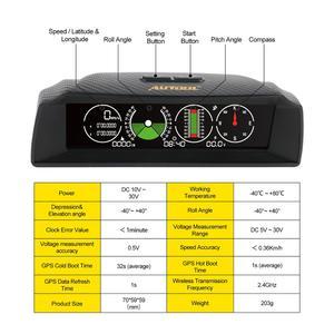Image 3 - Autool x90 gps hud inclinômetro medidor de inclinação velocidade do carro auto 12v geral head up display com inclinação ângulo passo transferidor latitude